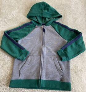 Cat & Jack Boys Gray Blue Green Raglan Long Sleeve Zip Up Hoodie Sweatshirt 6-7