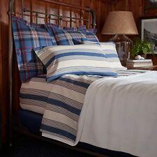 NEW Ralph Lauren Home Saranac Peak Corbet Stripe Cotton QUEEN Flat Sheet G1728