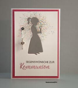 Glückwunschkarte zur Kommunion für Mädchen Gruß Klapp Karte Handarbeit 3d