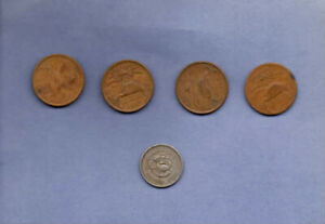 1944--MEXICO--20  AND 10 CENTAVOS COINS--LOT OF 5   FINE