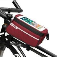"Waterproof MTB Road Bike Front Tube Bag 6"" Phone Touch Screen Bicycle Saddle Bag"