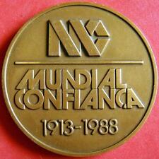 Business Insurance Company Mundial Confiança 1913-1988 Anniversary Bronze Medal!