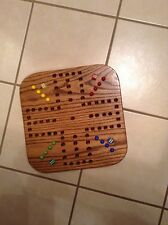 "18 "" WALNUT STAINED  WOODEN OAK AGGRAVATION MARBLE GAME BOARD  2 TO 4-PLAYER NEW"