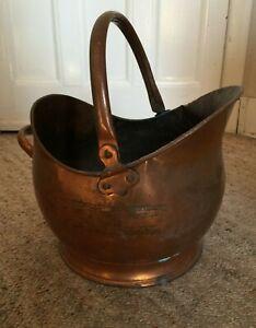 Antique traditional copper fire coal scuttle bucket