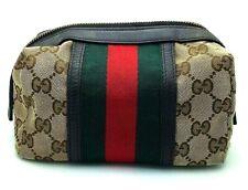 Gucci Monogram Canvas Brown Toiletry Makeup Bag Case Y20