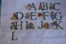 Partially Started Cross Stitch Canvas 'ABCDEFHIJK' with Mice Rabbits Piglets etc