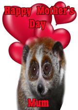 Lento Loris nmd270 Divertido Lindo A5 El Dia De La Madre tarjeta personalizado de las tarjetas de saludos