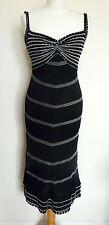 KAREN MILLEN Black Silver Beaded Evening Cocktail Dress Size 10
