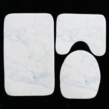 Blesiya Toilet Seat Lid Cover Marble Pattern Design, Soft Bathroom Mat Set