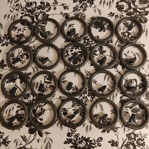 "20 Pottery Barn Curtain Drape Clip Rings Large Cast Iron Antique Black 1.75"" EUC"