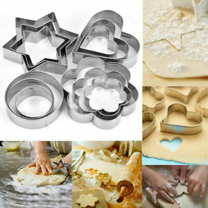 12X Stainless Steel Cookie cutter Set Cutters Baking Cookies Pastry Biscuit UK