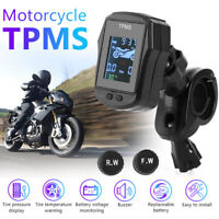 Motorcycle TPMS Waterproof Tire Pressure Monitor System with 2 External Sensors