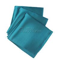 "10pcs Teal Blue 12"" Square Satin Cloth Napkin Pocket Handkerchief Wedding Xmas"