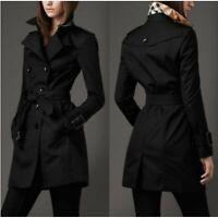 Womens Black Double Breasted Trench Coat Lightweight Rain Jacket W/ Belt