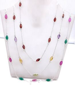 Wonderful Multi Cut Stone 3 Pieces Fine Necklace 925 Solid Sterling Silver M1302