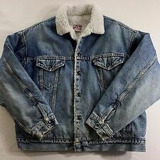 XXL Levis Sherpa Denim Jean Jacket Medium Blue Wash Vintage 1980s Distressed USA