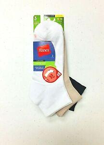 Hanes Women's ComfortSoft Cushioned Ankle Socks 3 Pairs White/Khaki/Black S 8-12