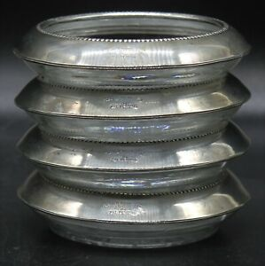 Set of 4 - Art Deco Frank M. Whiting & Co. Sterling Glass Coasters 04