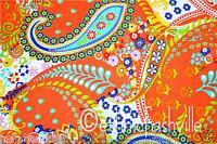 10 Yard Cotton Orange Paisley Hand Block Sanganer Print Sewing Material Craft
