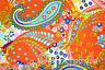 3 Yard Cotton Orange Paisley Hand Block Sanganer Print Sewing Material Craft
