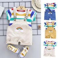 2pcs Toddler Baby Boy Kids Rainbow Stripe Tops T-shirt Straps Short Outfits Set