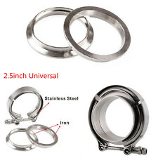 2.5'' Car Turbo Exhaust Downpipe Silver Stainless V-Band Clamp with 2 Flange Kit
