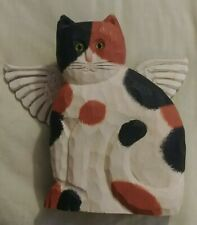 New listing Carved Wood Hand Painted Calico Tabby Cat Angel Wings signed James Haddon