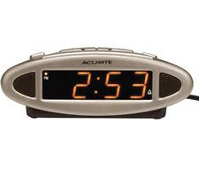 AcuRite 13027A Intelli-Time Digital Alarm Clock,Black Brush silver face snooze