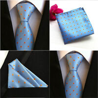 Men New Polka Dots Orange Blue Silk Tie Pocket Square Handkerchief Set Lot HZ073