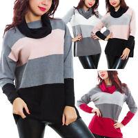 Maglione donna collo sciarpa tricot pullover righe maniche lunghe caldo JK2659