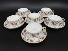 Minton Ancestral Tea Cup and Saucer Set of 6 Bone China England