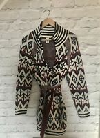 BNWOT H&M L.O.G.G AZTEC Wool Mix Chunky Belted Jacket Coat Cardigan Small UK10 8