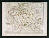 1841 Houze Map France after Clothaiere I 561-613 Europe