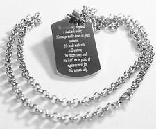PSALM 23  THICK  PENDANT ROLO CHAIN NECKLACE  DOG TAG SOLID STAINLESS STEEL