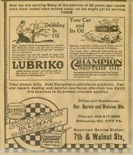Lubriko Grease Champion Motor Oil Auto & Gas Service Ad Evansville IN 1923