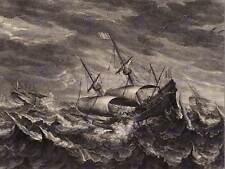 Bolswert Eertvelt flamenca barcos de vela tempestad Antiguo Arte Pintura Poster BB5019B