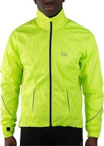 Traks Levisham Shell Mens Cycling Jacket Yellow Full Zip Softshell Reflective