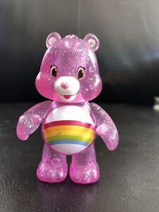 """Care Bears 3"""" Mini Figurine Purple Glitter Rainbow Moveable Arms Just Play TCFC"""