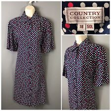 Country Collection Navy Spotted Retro Dress UK 18 EUR 46 US 14 Cotton