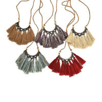 Fashion Women's Choker Necklace Tassel Chain Pendant Leather Statement Jewelry,