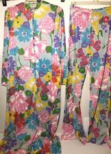 Vintage 60s Cole of California Hippy Floral Maxi Lounge Dress Hostess & pants