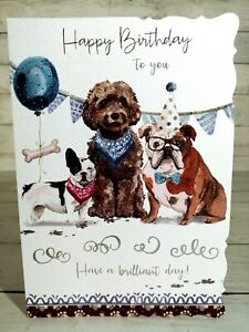 Happy Birthday To You Card, Have A Brilliant Day! Three Dogs