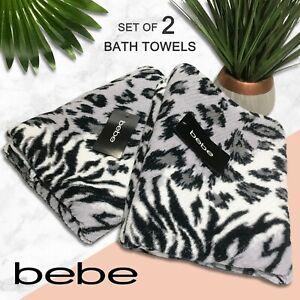 SET OF 2 bebe Cotton Bath Towels Mix & Match Leopard Tiger Print Gray White Blk