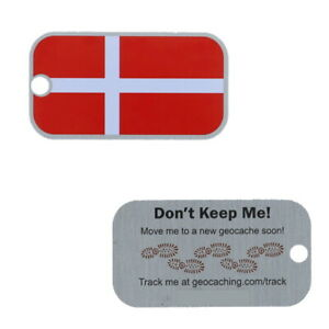 Denmark Flag Tag Travel Tag Geocaching Travelbug GEocoin Dänemark