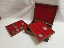 Cofanetto Astuccio scrigno in legno colore Castagno per monete inclusi 2 vassoi