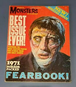 FAMOUS MONSTERS OF FILMLAND 1971 FEARBOOK Frankenstein Wolfman Kong Dracula VG-