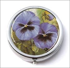 FLOWERS BLUE MAUVE PANSIES BUNCH PILL BOX ROUND METAL -hff4Z