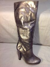 Office London Silver Knee High Leather Boots Size 40