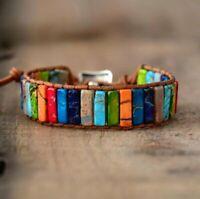 Chakra Natural Stone Tube Beads Bracelet Handmade Leather Wrap Weave Yoga Bangle