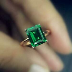 3CT Emerald Cut Green Emerald 14K Yellow Gold Finish Engagement Wedding Ring